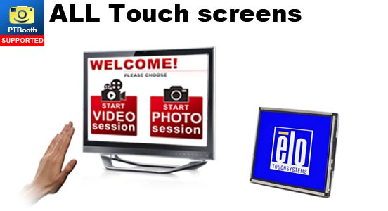 All Touchscreens are supported by PTBooth custom photo booth software