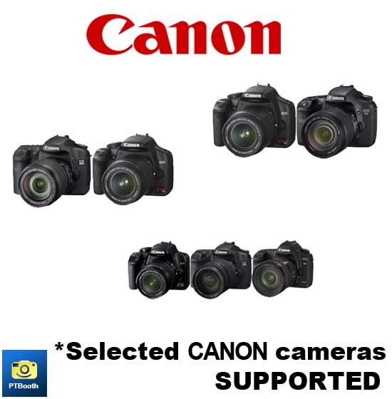 Selected Canon Cameras are supported by PTBooth A1 PLUS